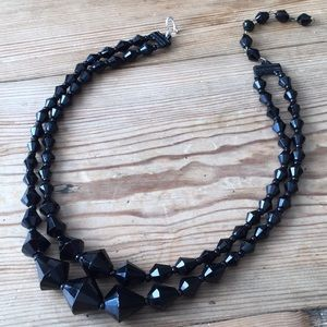 Vintage Black Double Stranded Glass Necklace